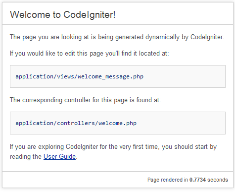 Code Igniter welcome page
